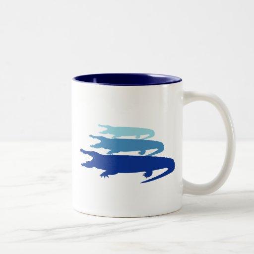Crocodile Lined Up (Blue) Two-Tone Coffee Mug