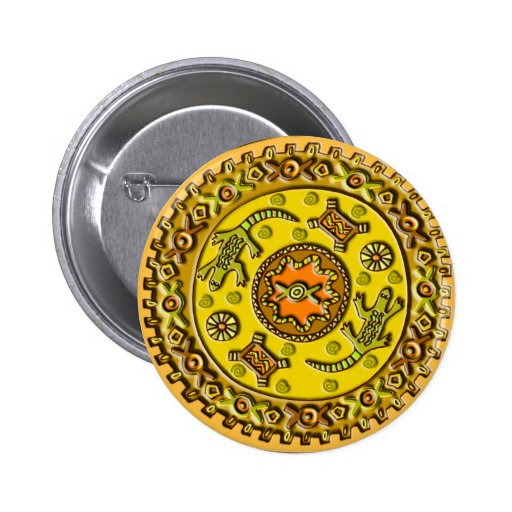 Crocodile Mandala 2 Inch Round Button