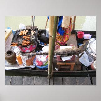 Crocodile Meat BBQ ... Thailand Street Food Poster