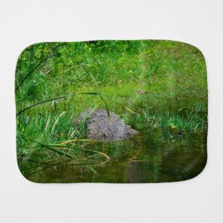 crocodile on bank back view reptile croc gator burp cloth