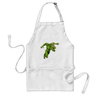 Crocodile or alligator  mascot running standard apron