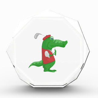 Crocodile playing golf cartoon award