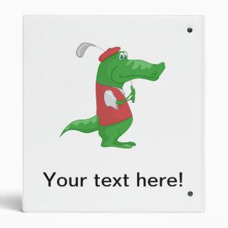 Crocodile playing golf cartoon binder