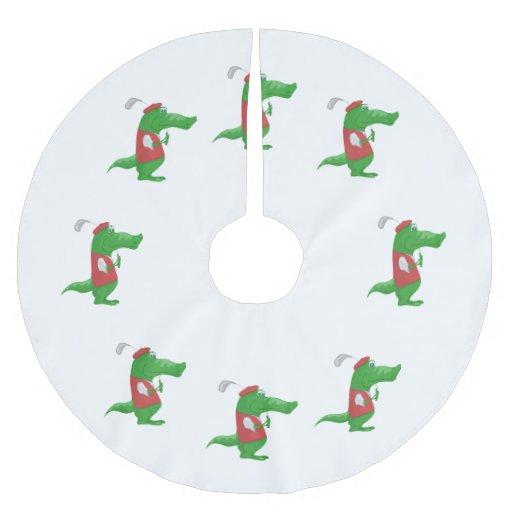 Crocodile playing golf cartoon brushed polyester tree
