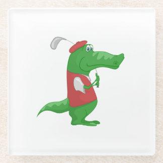 Crocodile playing golf cartoon glass coaster