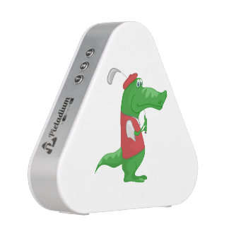 Crocodile playing golf cartoon speaker