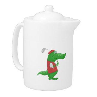 Crocodile playing golf cartoon teapot