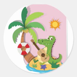 Crocodile playing guitar on island classic round sticker