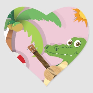 Crocodile playing guitar on island heart sticker