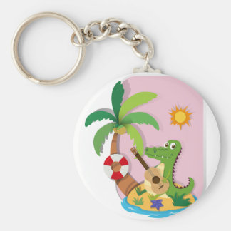 Crocodile playing guitar on island keychain