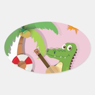 Crocodile playing guitar on island oval sticker
