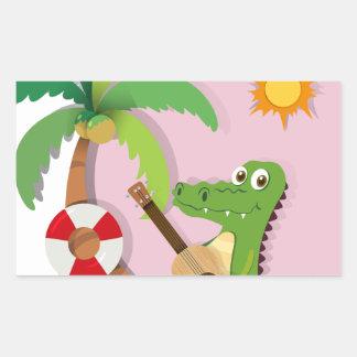 Crocodile playing guitar on island rectangular sticker