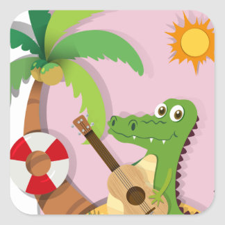 Crocodile playing guitar on island square sticker