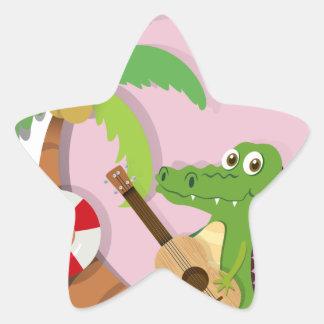 Crocodile playing guitar on island star sticker