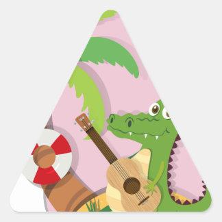 Crocodile playing guitar on island triangle sticker