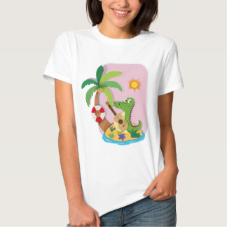 Crocodile playing guitar on island tshirt