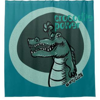 Crocodile Power Blue Shower Curtain