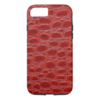 Crocodile Red Leather Look iPhone 7 Case