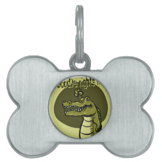 crocodile rights now green pet ID tag