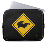 crocodile road sign laptop computer sleeves