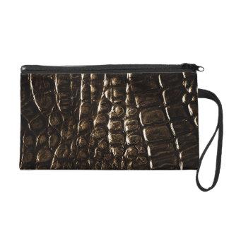 Crocodile Skin Bagettes Bag Wristlet Clutch