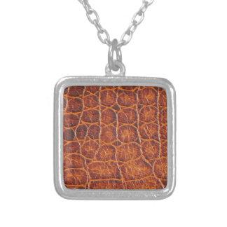 Crocodile Skin Print Square Pendant Necklace