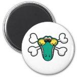 Crocodile Skull and Crossbones Fridge Magnets