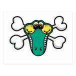 Crocodile Skull and Crossbones Postcard