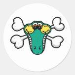 Crocodile Skull and Crossbones Round Sticker