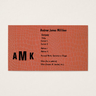 Crocodile with monogram business card