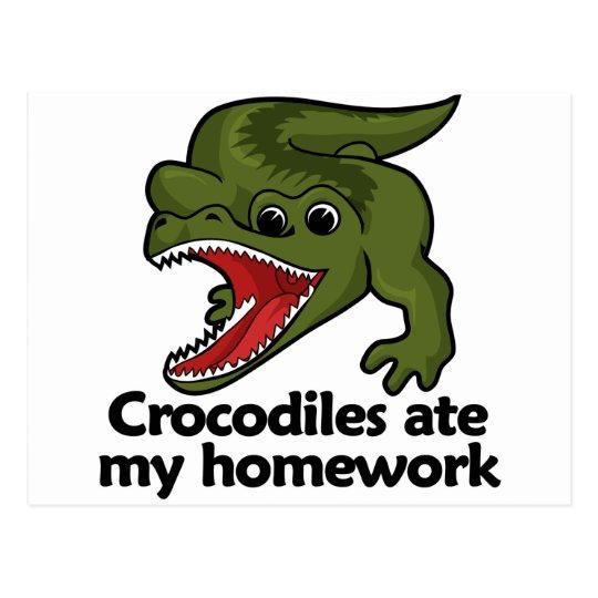 Crocodiles ate my homework postcard