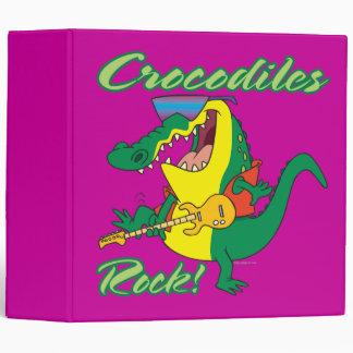 crocodiles rock music croc cartoon 3 ring binder