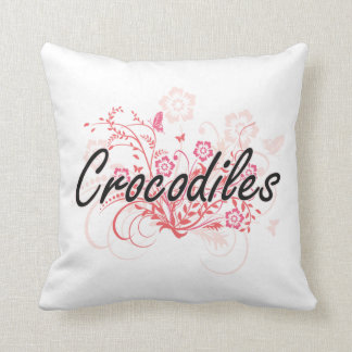 Crocodiles with flowers background pillow