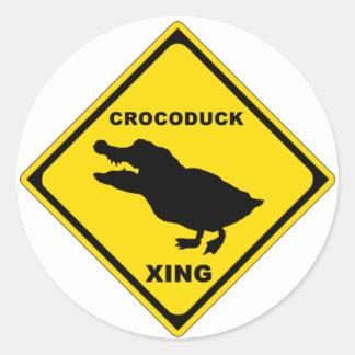 Crocoduck Crossing Classic Round Sticker