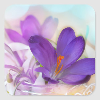 Crocus and Lily of the Valley Floral Arrangement . Square Sticker