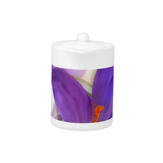 Crocus and Lily of the Valley Floral Arrangement . Teapot
