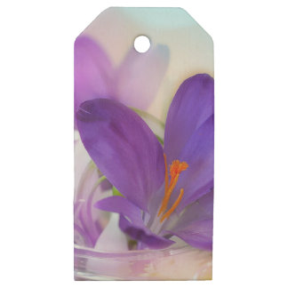 Crocus and Lily of the Valley Floral Arrangement . Wooden Gift Tags