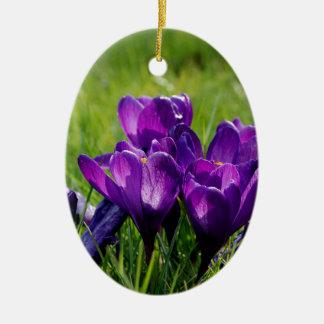 Crocus blooms ceramic ornament