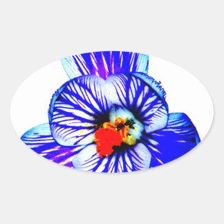 Crocus Flower Oval Sticker