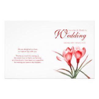 Crocus orange red floral wedding programme flyer
