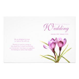 Crocus purple floral wedding programme flyer