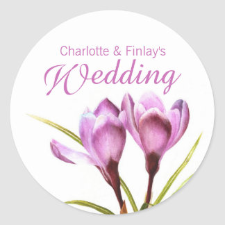 Crocus purple watercolor wedding sticker