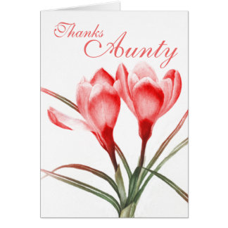"Crocus ""Thanks Aunty"" pink red card"