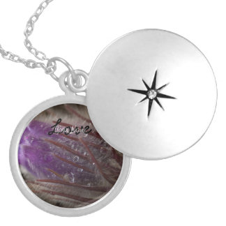 Crocus with Water Beads; Customizable Round Locket Necklace