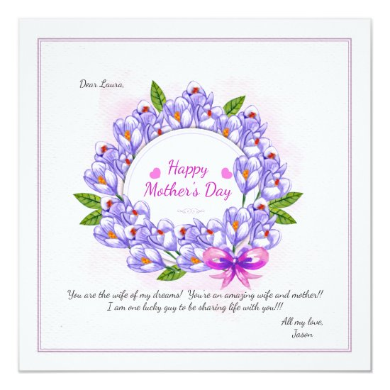 Crocus Wreath Mother's Day Photo Card