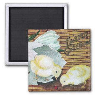 Crocuses, Chicks and Ladybug Vintage Easter Magnet
