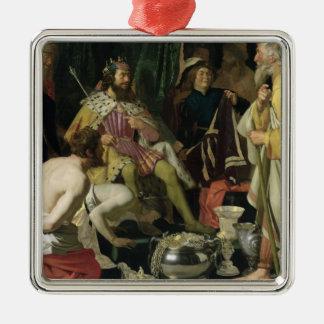 Croesus y Solon, 1624 Adorno Navideño Cuadrado De Metal