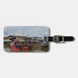 Crofter del barco de pesca etiquetas bolsas