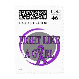 Crohn s Disease Fight Like A Girl Circular Postage Stamp