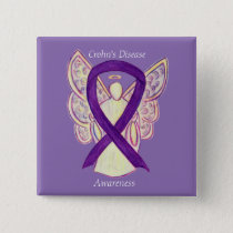 Crohn's Disease Awareness Angel Purple Ribbon Pin